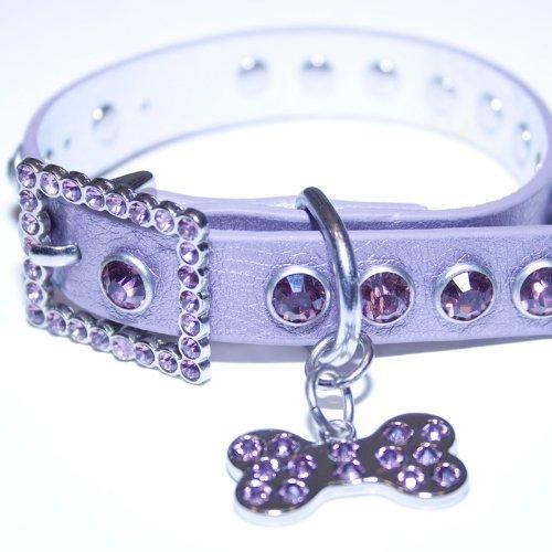 """Large: Purple Leather, Rhinestone Dog Collar w/ Bling Dog Bone Pendant , Neck Size 13""""-15"""""""