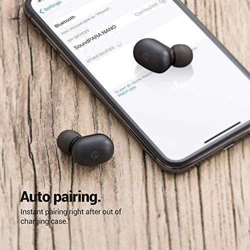 SoundPARA Nano True Wireless Earbuds in-Ear Stereo 5.0 Bluetooth Headphones Wireless Earphones (Touch Control, Built-in Mic, Auto Pairing, Total 14 Hours Playtime)