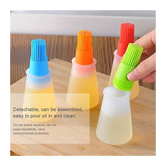 Morenitor Silicone Oil Brush, Good Grips Silicone Basting High Heat Resistant Pastry Brush with Oil Bottle Brush Design, Food Safety, 4.5 Inches 6 ? Safety and Health ? The basting brushes are made of 100% food grade silicone, food safe and non-toxic. ?HIGH HEAT RESISTANCE ? High heat-resisting, the oil brush bristles will not melt, break or shed into your food! No bristles loss troubles£¡ ?More Color Silicone Brush ? Removable silicone bristles and silicone bottle , non-toxic and odor control oil ,respirable, no matter how much, no waste of oil. Easy to clean the brush and bottle.