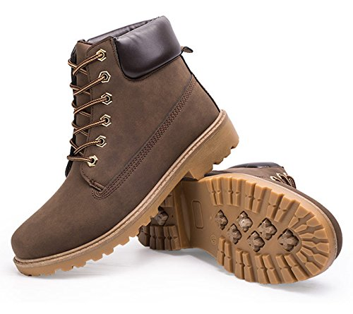 Waterproof Outdoor Winter Snow Boot Santimon Ankle Bootie Chukka Hiking Boots Martin Warm Mens Brown Womens Combat Work Slip Anti up Desert Lace SxzOzvFqw