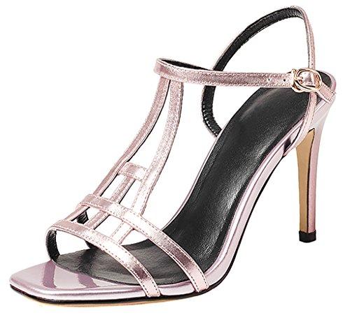 Calaier Mujer Cabird Tacón De Aguja 9CM Sintético Hebilla Sandalias de vestir Zapatos Rosa