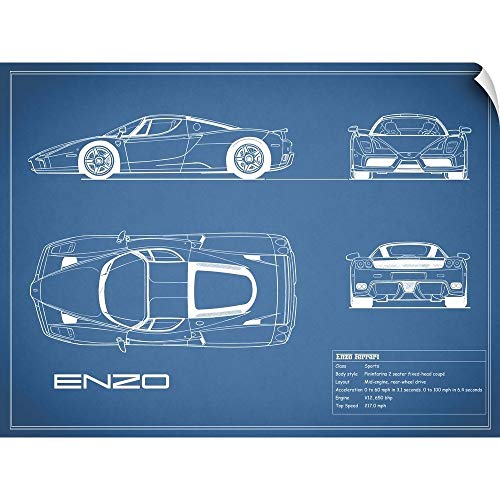 CANVAS ON DEMAND Ferrari Enzo - Blue Wall Peel Art Print, 48