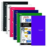 Five Star Spiral Notebooks, 1 Subject, 100 College Ruled Sheets, Assorted Basic Colors, 6-Pack (38052)