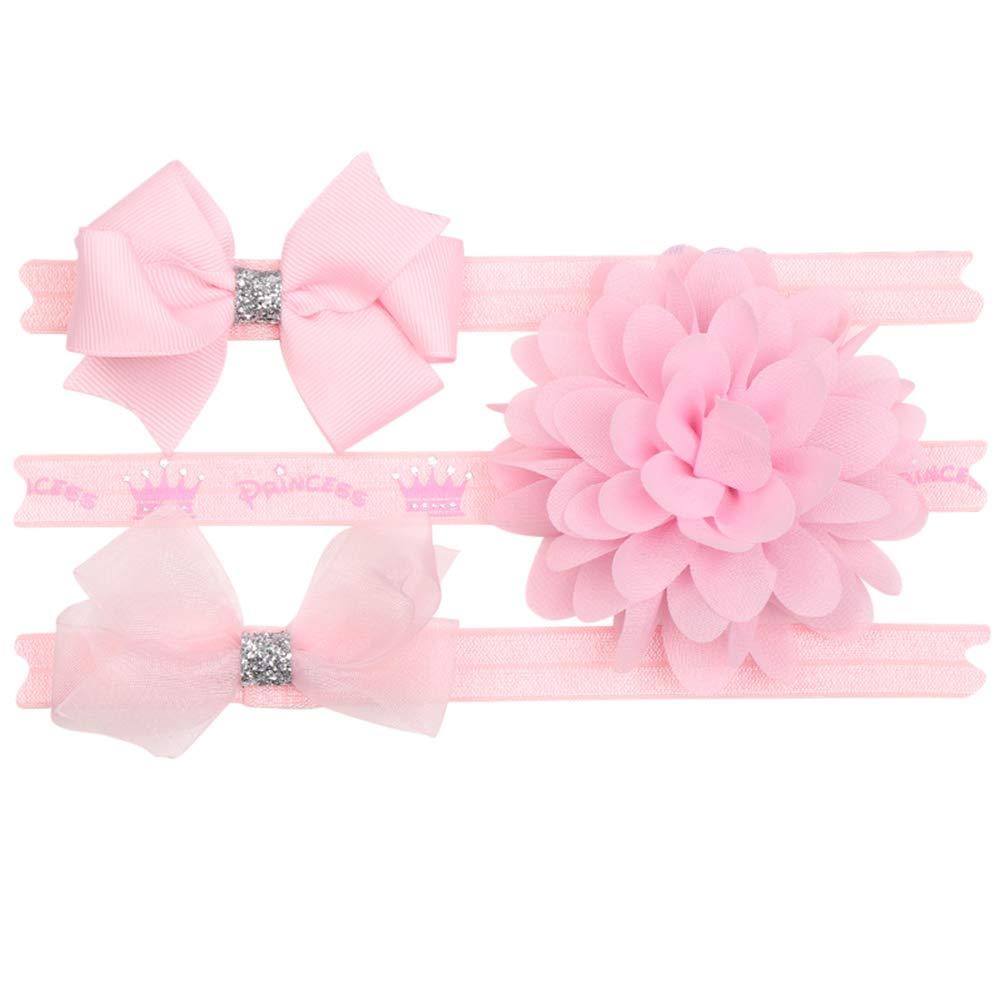 COUXILY Bébé Filles Bandeau Cheveux Arcs Ceinture Côtelée Stretch Bowknot Rose Fleurs Perle Bandeau Élastique pour Les Tout-Petits Infant