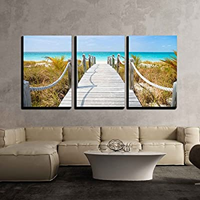3 Piece Canvas Wall Art - Beautiful Beach at Caribbean Providenciales Island in Turks and Caicos - Modern Home Art Stretched and Framed Ready to Hang - 24