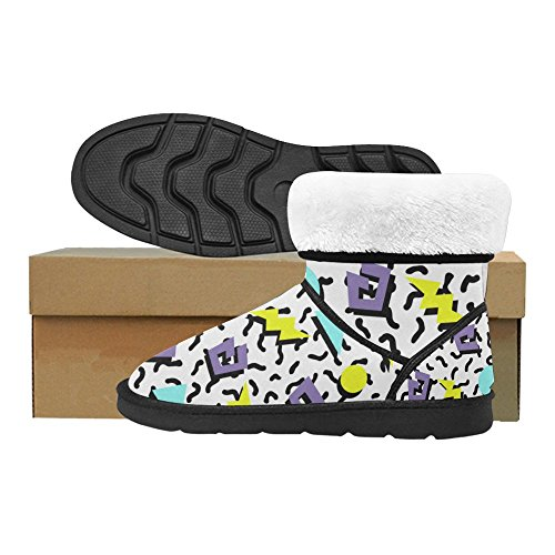 12 5 Circles Womens colorful InterestPrint Size Snow Ethnic Classic Doodle Print Floral Boots Tribal Pattern Ladies Color14 5 aqaUxw6