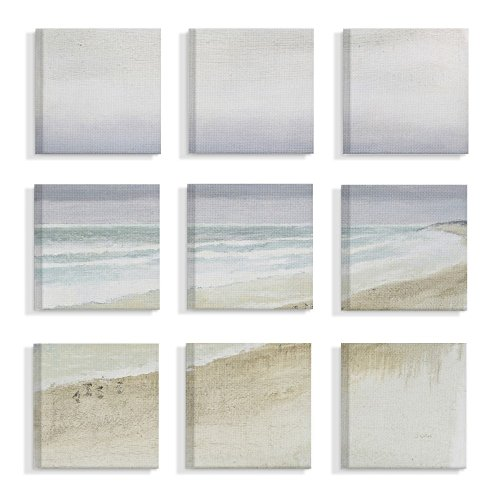 The Stupell Home Decor Collection Tan Blue and Grey Gentle Beach Mist Overcast Sky Painting Stretched Canvas Wall Art, Multicolor made in Rhode Island
