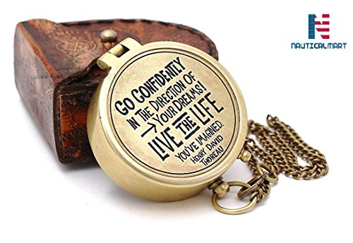 NAUTICALMART Thoreau's Quote Go Confidently in The Direction of Your Dreams Brass Compass Personalized Gift for Camping