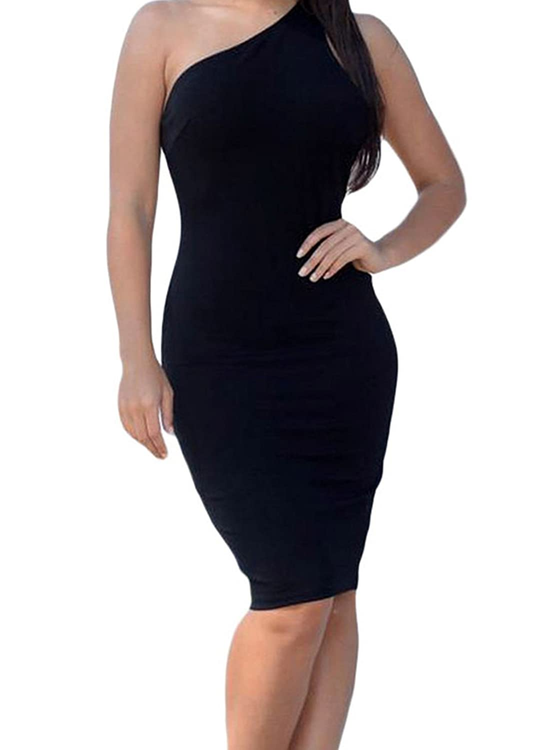FQHOME Womens Black One Shoulder Strappy Back Bodycon Party Dress