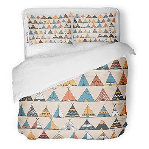 Native Teepee Indian American (Tarolo Bedding Duvet Cover Set Boho Teepee Pattern Wigwam Native American Summer Tent in Indian Kids Aloha Camp 3 Piece Twin 68
