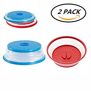 MerryMore Collapsible Microwave Cover Silicone Plate Lid Splatter Guard 10.5 inch & BPA Free & Dishwasher Safe Red+Blue (2 Pack)