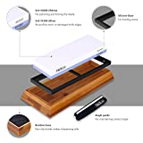Premium Knife Sharpening Stone 1000/6000 Grits Double-Sided Whetstone with Non-Slip Bamboo and Rubber Base, Angle Guide - High Qualified White Corundum Waterstone - HSS1A,Ideal Mother's Day Gift