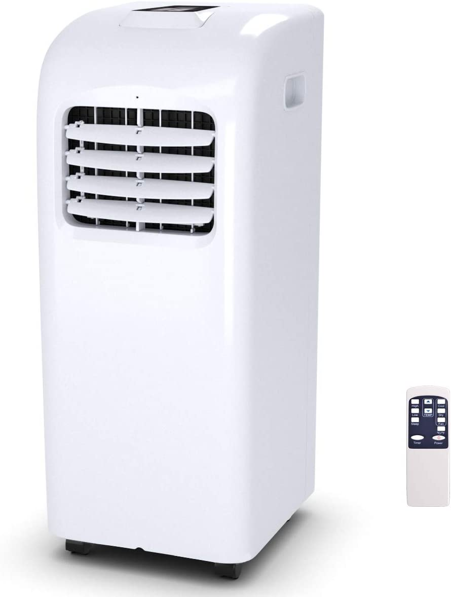 COSTWAY 10000 BTU Portable Air Conditioner with Remote Control, Energy Efficient for Rooms Up to 400 Sq. Ft, Cooling, Dehumidifying, Fanning, Sleeping Mode, Time Settings, Clear LED Display 10000BTU