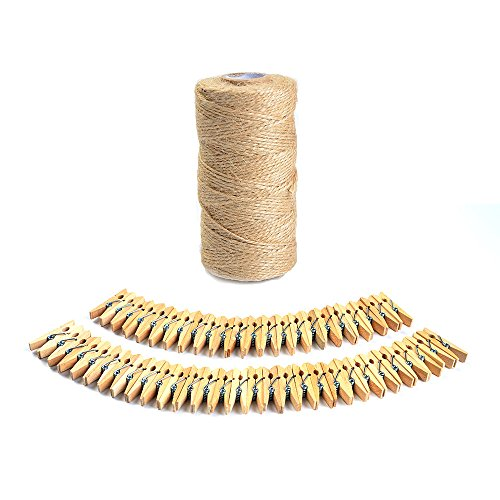 Photo Hanging Clips (ATPWONZ 330 Feet Natural Jute Twine with 50 Pcs 3.5cm Wood Clothespins for Photo Hanging, DIY Crafts, Valentines Decorations, Bundling, Gardening and Recycling)