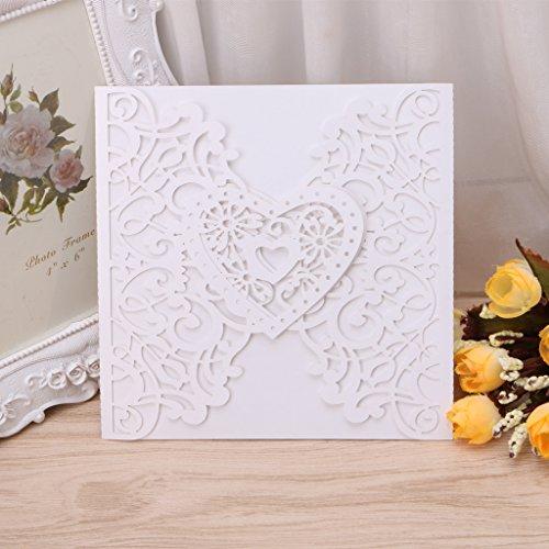 Amrka Wedding Invitation Cards Kit with Envelopes Heart Shape Seals Personalized Printing (10Pcs)