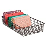 mDesign Household Wire Drawer Organizer Tray, Storage Organizer Bin Basket with Built-in Handles, for Closets, Bedrooms, Entryways, Mudrooms, Kitchens, Pantry, Bathrooms - 16'' x 9'' x 3'', Bronze