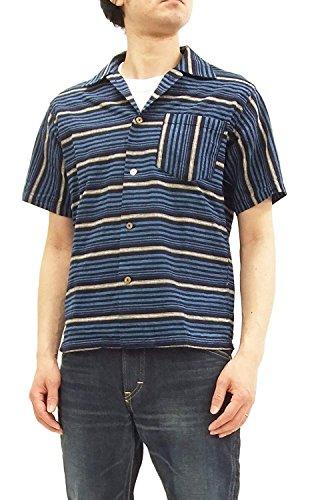 - Sugar Cane Men's 50s Style Horizontal Striped Sport Shirt Short Sleeve SC37937 Navy Blue Japan M (US S-M/UK 36-38)