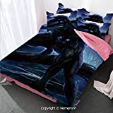 Homenon Fantasy World Girl's Room Cover Set Full Size,Surreal Werewolf with Electric Eyes in Full Moon Transformat,Decorative 3 Piece Bedding Set with 2 Pillow Shams Purple Blue