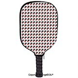 AngelDOU Abstract Soft Neoprene Pickleball Paddle Racket Cover Case Surreal Spherical Shapes with Different Designs Vibrant Ornamental Fit for Most Rackets.Black Silver Vermilion