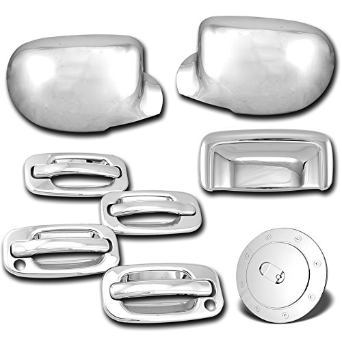 AutoModZone Chrome ABS Chrome 4 Door Handle with PSG Keyhole +Tailgate+ Full Mirror+ Gas Cover Combo for 00-06 Chevy Tahoe Suburban