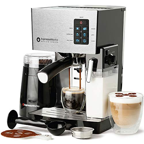 10 Pc All-In-One Barista Bundle Espresso Machine & Cappuccino Maker, 19 BAR Pump Set w/ Built in Milk Steam & Frother (Incl: Electric Coffee Bean Grinder, 2 Cappuccino & 2 Espresso Cups, Spoon/Tamper, Portafilter w/ Single & Double Shot Filter Baskets, 16 Art Stencil Templates) (Silver), 1250W