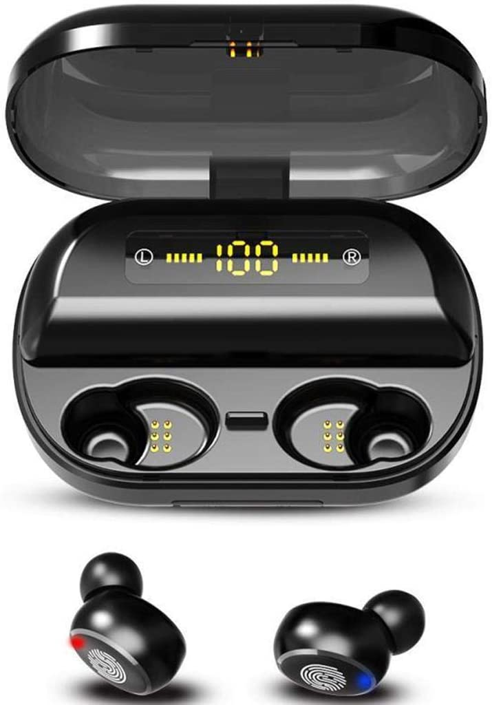 Suines Wireless Bluetooth 5.0 Earbuds with 4000mAh Charging Case HiFi Headset Stereo in-Ear Mini Earphone with Microphone Headphones