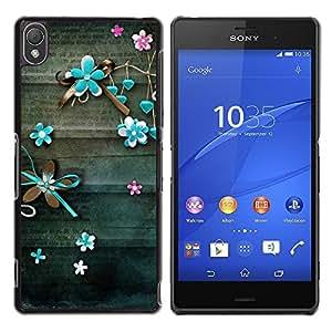 Be Good Phone Accessory // Dura Cáscara cubierta Protectora Caso Carcasa Funda de Protección para Sony Xperia Z3 D6603 / D6633 / D6643 / D6653 / D6616 // Letter Old Vintage Teal