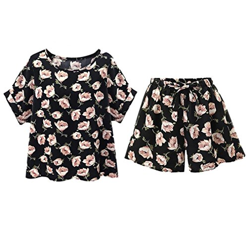 YANG-YI Plus Size Women Tops, Clearance Women 2 Piece Set Casual Floral Print Loose Top + Short Pants (Black, 5XL)