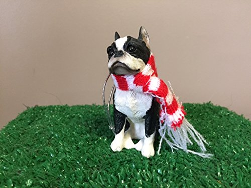 (Sandicast Boston Terrier with Santa Hat Christmas Ornament)