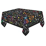 InterestPrint Tablecloth Cover Math Linear Mathematics Education Circle Home Decor 60 X 84 Inch, Children Student Back to School Fabric Desk Table Cloth for Dining Room Kitchen Party Decoration