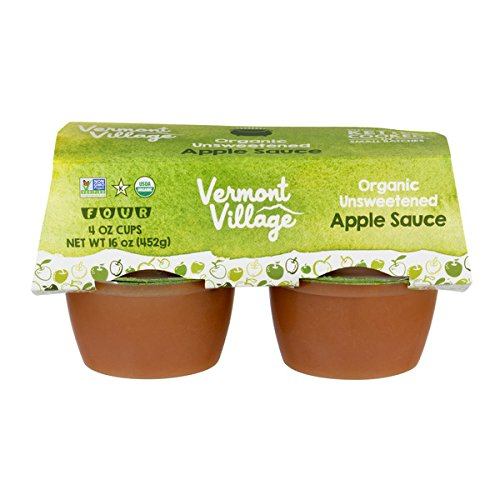 Vermont Village Organic Unsweetened Applesauce, 4 x 4-Ounce Cups (Pack of 48)