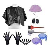 CCbeauty Hair Dye Coloring Applicators Hair Highlighting Kit DIY Beauty Salon Tool Kit-Highlighting Cap, Hook,Clips,Cap, Hair Color Brush and Bowl Set