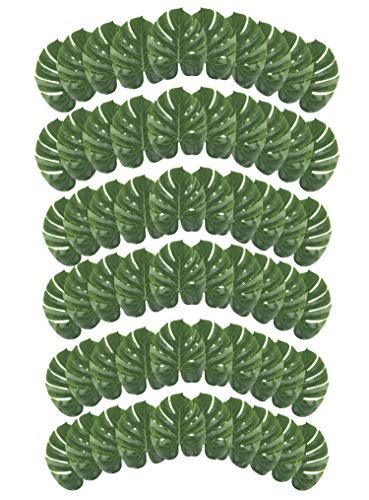 Leaf - 60-Pack Summer Luau Party Decorations, Beach Wedding Island Tropical Themed Decor, Safari Plant Leaves, Green, 13.7 x 11.2 Inches ()