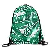 Portable Drawstring Bags Casual Daypacks Multipurpose Daypacks - Green Fine Leaves