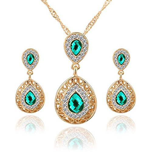Clearance!Women Party Necklace,Todaies 5 Colors Party Wedding Rhinestones Glass Necklace Earrings Ring Jewellery Set (2PCS, Green) ()