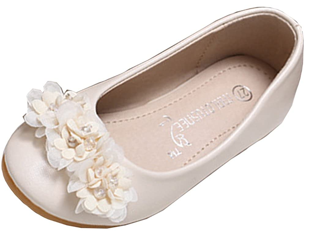 Toddler//Little Kid Elegant Flowers with Rhinestones Slip On Low Top Flats VECJUNIA Girls Flats Shoes School Uniforms