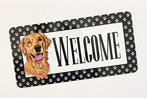 Jeartyca Golden Retriever Welcome Sign Golden Retriever Lover Sign Dog Welcome Sign Metal Wreath Sign