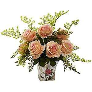 GREATHOPES Peach Rose & Maiden Hair w/Floral Planter Artificial Flower Decorative 13