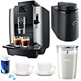 Jura WE8 Professional Coffee Machine Bundle + Jura Chilled Milk Container, Glass Milk Container, Cleaning Tablets and Tiara Espresso Cups
