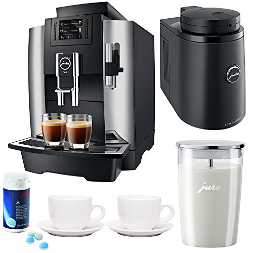 Jura WE8 Professional Coffee Machine Bundle + Jura Chilled Milk Container, Glass Milk Container, Cleaning Tablets and Tiara Espresso Cups by Jura