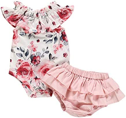 Infant Baby Girl Floral Romper Top Bodysuit+Pleated Tutu Bloomers Summer Outfit Clothes Set