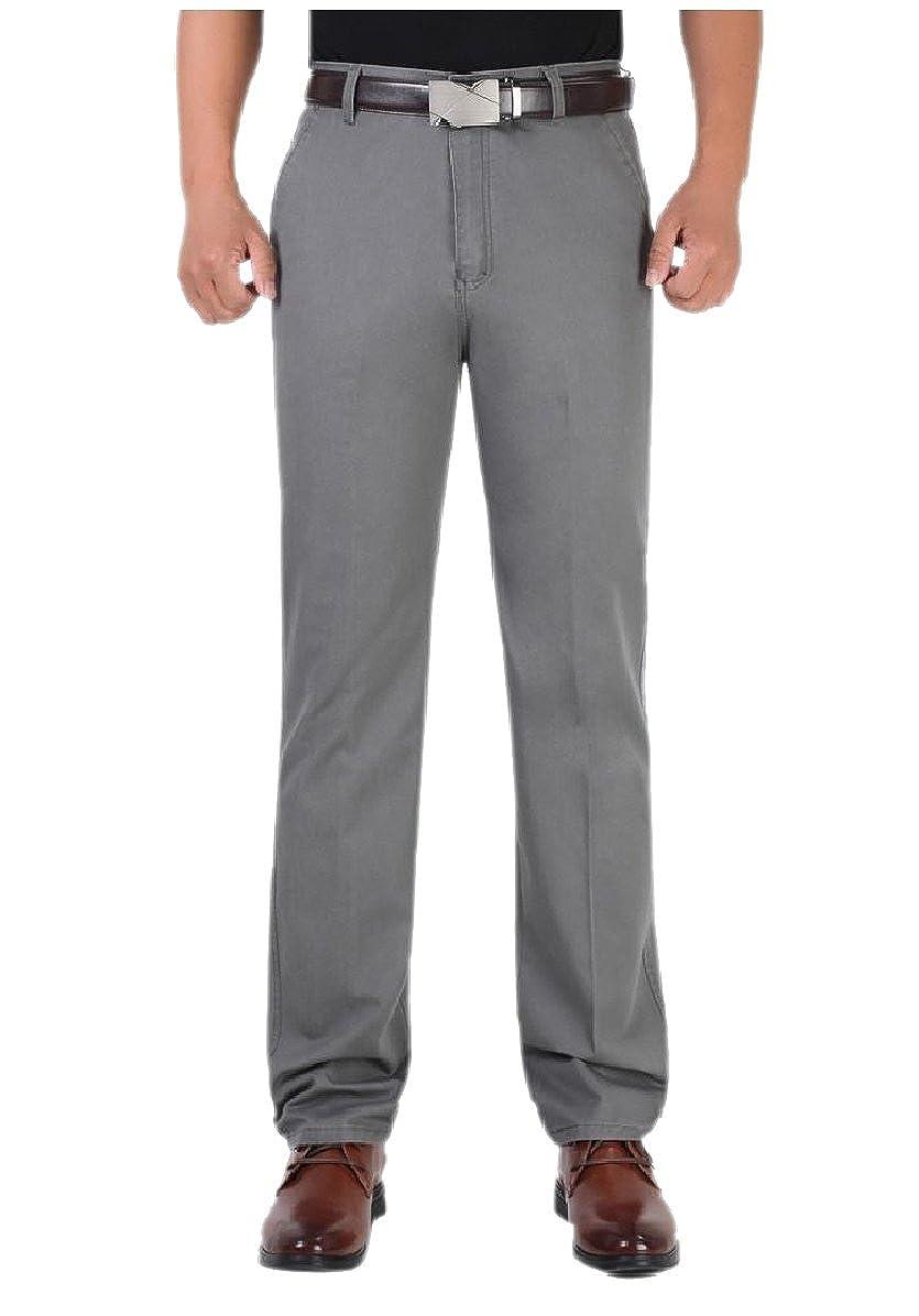 YUNY Mens Back Cotton No Iron Hidden Expandable-Waist Chino Pants Dark Grey 32