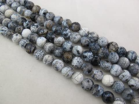 BRCbeads Agate Nature Gemstone Fire Agate Dyed Grey/white Color Round Faceted 12mm 32pcs 15'' Per Strand - Grey Agate Stone