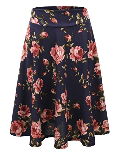 Doublju Elastic High Waist A-Line Flared Midi Skirt For Women With Plus Size (Made In USA) NAVYROSE (Teens In Skirt)