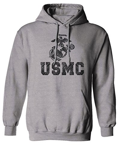 MC Big Logo Seal United States of America USA American Hoodie (Ligth Gray, Small) ()
