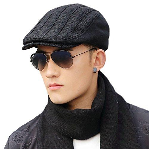 Siggi Cable Irish Wool Knit Black Duckbill Ivy Flat Cap for Men Newsboy Hat Winter Medium 69148_black