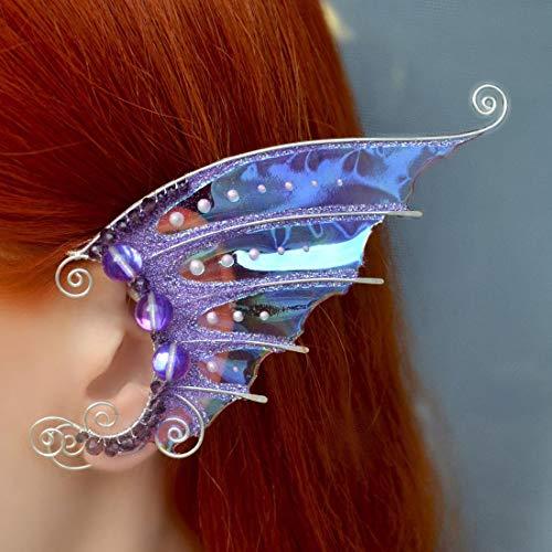 (Dragon Wings Ear Cuffs, Wire Wrap Jewelry, Purple Transparent Wings Ear Cuffs, No Piercing, Festival Ear Cuffs, Festival Jewelry, Costume Jewelery, Fairy Butterfly)