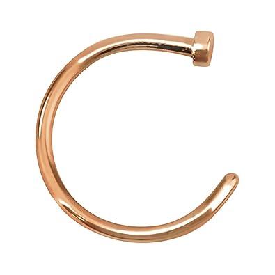 Amazon.com: Rose Gold plano disco nariz aro anillo de acero ...