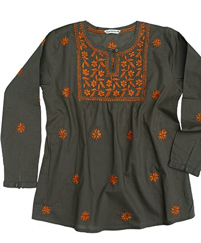 Ayurvastram Pure Cotton Hand Embroidered Boho Peasant Blouse Top Tunic – XS: Body Chest 32.5 inches, Military Green with orange emb