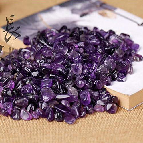 Kingyao 1 lb Amethyst Small Tumbled Chips Crushed Stone Healing Reiki Crystal Reiki Chakra Stone Making Home Decoration vase fillers Plants Flower pots Decor ()